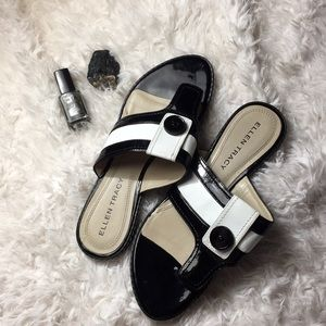 Ellen Tracy Shoes - Ellen Tracy Black and White Selina Sandals size 7